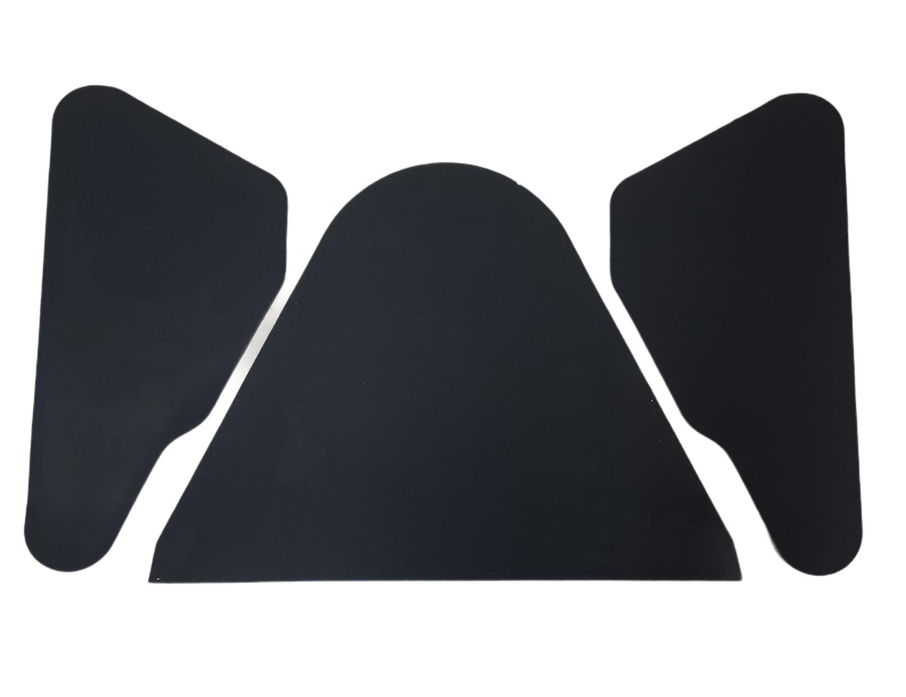 2 CV Dämmung Heckklappe, 3 teilig, in 2,5 mm schwarzem Nadelvlies selbstklebend