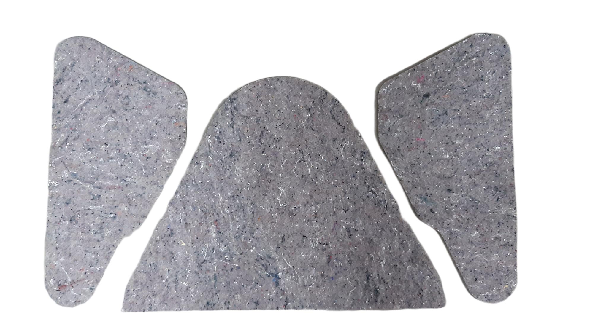 2 CV Dämmung Heckklappe, 3 teilig, in einem ca:4 mm dickem Propylat nicht selbstklebend