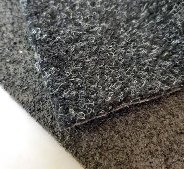 Neu ADMS Thermo-Nadelvliesteppich schwarz / anthrazit ca. 4-5mm stark mit Granulat Rückseite